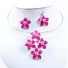 Lovely Five Flower, Pink Enamel, Ensemble Collier Lady Sexy (XJW12601)