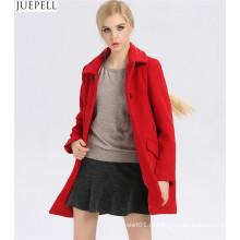 Новых пригородных дамы воротник тонкий 100% шерсти женщин пальто Европейский и американский Стиль двойной Брестед длинные пальто зимы