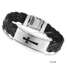 2015 nuevo brazalete cruzado de acero de la pulsera Brazalete de seda de los hombres de la correa negra PH516