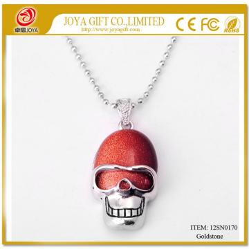 Red Goldstone Skull Gemstone Pendant Necklace with Silver chain