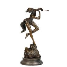 Musik Dekor Messing Statue Dame Spieler Carving Bronze Skulptur Tpy-719