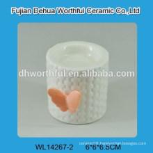 Orange butterfly design ceramic candle holder