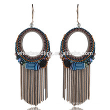 Faq moq rétro exporter fil de billes en cristal bijoux en pierre boucles d'oreille en forme d'anneau