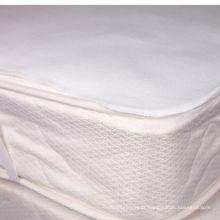 almofada de colchão impermeável branca flanela de algodão com elástico