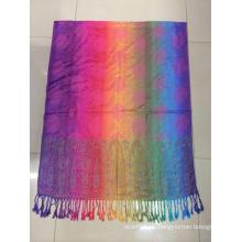 2016 MODA Nuevo color arco iris Jaquard diseño viscosa Hijab Tudung bufanda musulmana