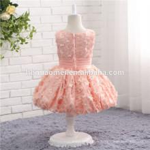 Filles roses parti portent des conceptions de robe pas cher filles fête et vêtements de mariage robe de fille de fleur pour bébé