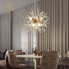 Круглая золотая латунная люстра Led для гостиной