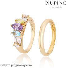 12857-Xuping элегантные ювелирные изделия золото пара кольцо настройки с КЗ