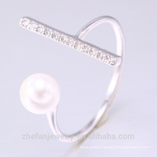 2018 new fashion jewelry custom sterling silver jewelry pearl ring