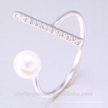 2018 nova moda jóias personalizado anel de pérola de jóias de prata esterlina