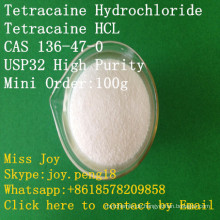 USP Tetracaine HCl hohe Reinheits-Tetracaine-Hydrochlorid Tetracaine HCl CAS 136-47-0 lokale betäubende API-Schmerz-Entlastung