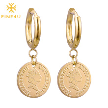 Fashion daily use stainless steel gold plated huggie hoop head coin dangle drop earring