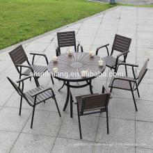 Outdoor modern plastic wood dining set with 6 seater aluminum frame wood garden backyard furniture
