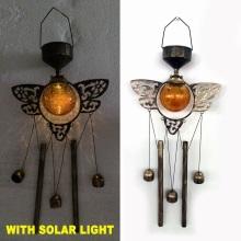Glass Ball Solar Lighted Garden Decoration Metal Dragonfly Windchime Craft