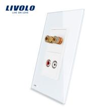 Livolo Sound / Акустика и аудиоразъемы с розеткой из белого жемчуга и хрустального стекла VL-C591AAD-11