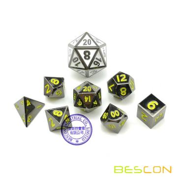 Bescon 10MM Mini Solid Metal Dice Set Glossy Black with Yellow Numbers, Mini Metallic Polyhedral D&D RPG Miniature Dice 7-sets