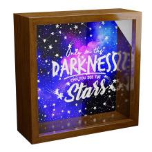 creative idea custom bulk 6x6 walnut wood 3d deep art Outer Space Wall Decor Gift Fun Astronomy Themed Shadow Box for Room Decor