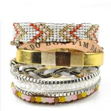 Gets.com 2015 Art und Weise Brasilianisches Armband weißes Goldfarbenton wulstiges Armband, Sommerkleidarmband