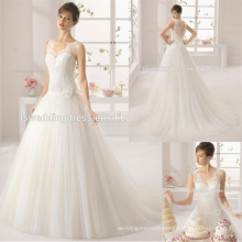 WD9213 simple plain handmade flower waist ruched tulle ball gown elegant lace dress with scalloped neck