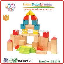 EZ1058 EN71 approved creative beech wood Castle Toy Wooden Blocks Set