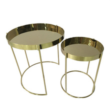 Modern simple stainless steel tray side table combination