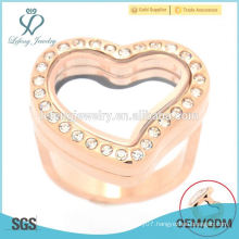 Rose gold design heart shape Stainless Steel Jewelry Rings for women, gold crystal rings jewelry