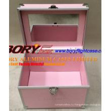 Классический розовый жесткий алюминиевый набор для ногтей, картонный футляр