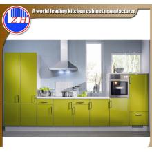Muebles de cocina de fibra de vidrio de módulo plano brillante con piedra de encimera
