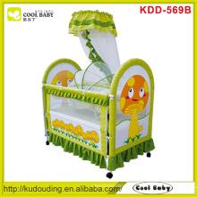 Cogumelo amarelo no lado, NOVO bebê Berço cor verde com berço interior e mosquiteiro