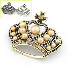 New Design Crown Brooch Paved With CZ Disco Ball Handmade Pearl Brooch BH05