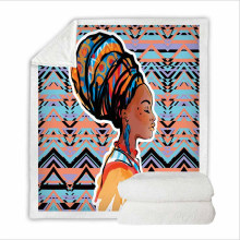 Super Soft Sweatshirt Cover Blanket Bedding Set for Camping with 3D Digital Printing African Girl