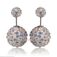 Rhinestone Ear Studs Double Ball AB Pendientes de cristal Shamballa