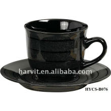 Solid Color Glazed Round Decal Ceramic Stoneware Coffee Tea Cup & Saucer