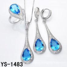 Joyería de imitación de lujo 925 joyas de plata con Big Ocean Blue Zircon.