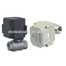 1/2 ' 2 fios controlam 2 way12VDC aço inoxidável Mini válvula de esfera DN15 motorizada bola válvula elétrica para tratamento de água