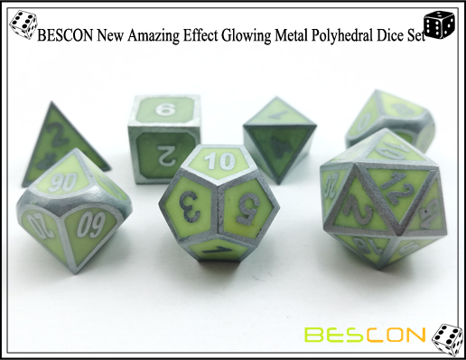 BESCON New Amazing Effect Glowing in the Dark Metal Polyhedral Role Playing RPG Game Dice Set of 7-7