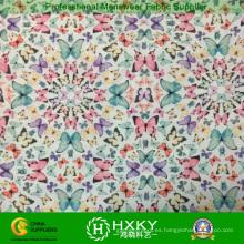 Tela polivinílica impresa multicolor del modelo de mariposa de la gasa para el vestido