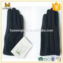 New Design Ladies Fashion Black Winter Warmen Knitted Gloves