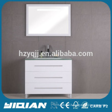 White Mat Finish Floor Standing Mirrored Glass Basin MDF Home Furniture