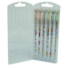 Color Barrel Diamond Point Gel Ink Pen Set 6 PCS/Box, Highlighter Gel Ink Pen