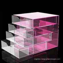 4 Tier Colored Clear Jewelry Storage Drawers Acrylic Cosmetic Makeup Organizer
