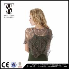 Sparking lace leaf shawl high quality fashion style for lady acrylic scarf