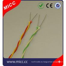 Tipo KX- 2x20 AWG Termopar torcido Cable de cobre aislado con fibra de vidrio