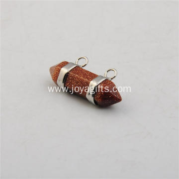 Charm Brown Goldstone Hexagon Bicone Pendant Sterling Silver for Fashion Women Accessories