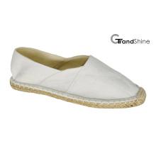Women′s Casual Espadrille White Canvas Flat Shoes