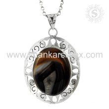 Shiny botswana agate gemstone silver pendant wedding jewelry 925 sterling silver jewellery supplier