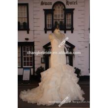 Boda 2016 Venta caliente personalizada Organza sirena vestidos de novia