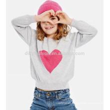 O neck cashmere knitwear kids intarsia sweater