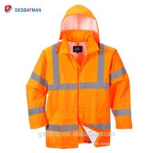 China al por mayor diseño personalizado con capucha Hola Vis ANSI chaqueta de lluvia impermeable alta visibilidad reflectante seguridad trabajadores Hood impermeable