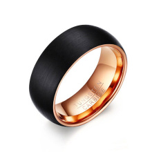 Black rose gold 8mm disikat tungsten pernikahan band